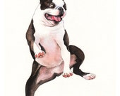 Greeting Card - Dancing Boston Terrier- Card for Dog Lover, Boston Terrier Card