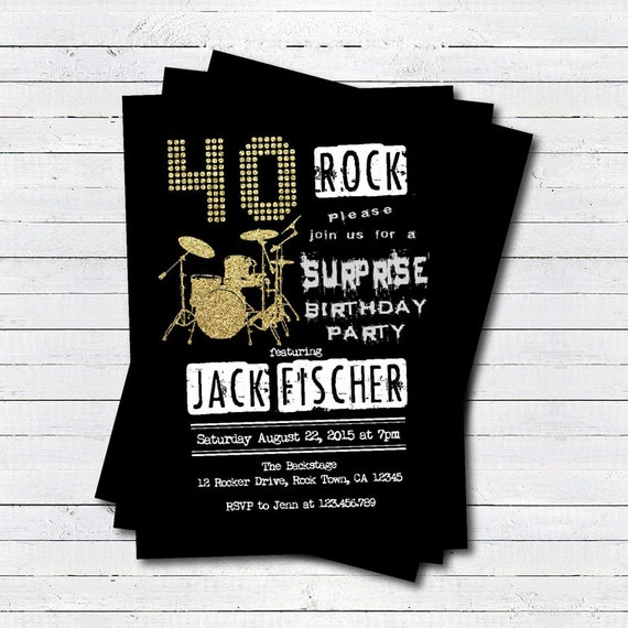 Surprise 40th Birthday Party Invitation. Rock And Roll Music
