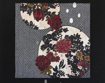 Moonlit I ~ textile art, botanical, moon