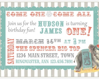 Vintage Circus Party Invitation ~ Baby Boy's First Birthday Party ~ Red, Gray, or Aqua Stripe ~ Custom Printable Download ~ PDF