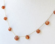 """Sunstone Heart Briolette Necklace with a Delicate Gold Filled Chain - 17.5"""" - 21"""""""