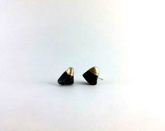 Black Onxy Gold Dipped Ear Studs, Natural Quartz Stone Studs, Geometric Earrings, Minimalist Jewellery, Simple Everyday Earrings, Handmade