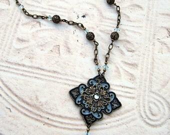 Antiqued Enameled Brass Pendant, Blue Enameled and Antiqued Brass Necklace, Enameled Pendant, Heirloom Style, Diamond-Shaped Pendant, Boho