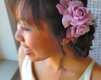 Silk hair flowers wedding headpiece- vintage pink/mauve silk flower fascinator, woodland wedding headpiece