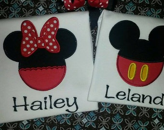 Personalized Mickey Mouse shirt - Mickey Shirt - Minnie Shirt - Minnie Mouse Shirt - Disney Shirts - Twin Shirts