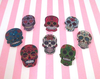 Sugar Skull Cabochons, Acrylic Laser Cut Skulls, Day of the Dead Cabochons,  #319b