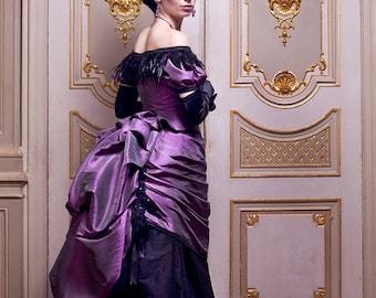 Victorian Vampire Ball Gown ~ Gothic Masquerade Wedding Bustle Dress ~ Feathers Halloween Costume ~ 19th century dress