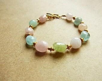 Aquamarine & Multi Beryl Jelly Bean Bracelet // Vermeil Toggle Clasp // Gold Spacer Beads // March Birthstone