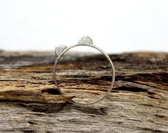 Panda Bear Ears Sterling Silver Ring / Minimalist Geometric Boho Jewelry Stacking Ear / GUGMA Women's Men's Handmade