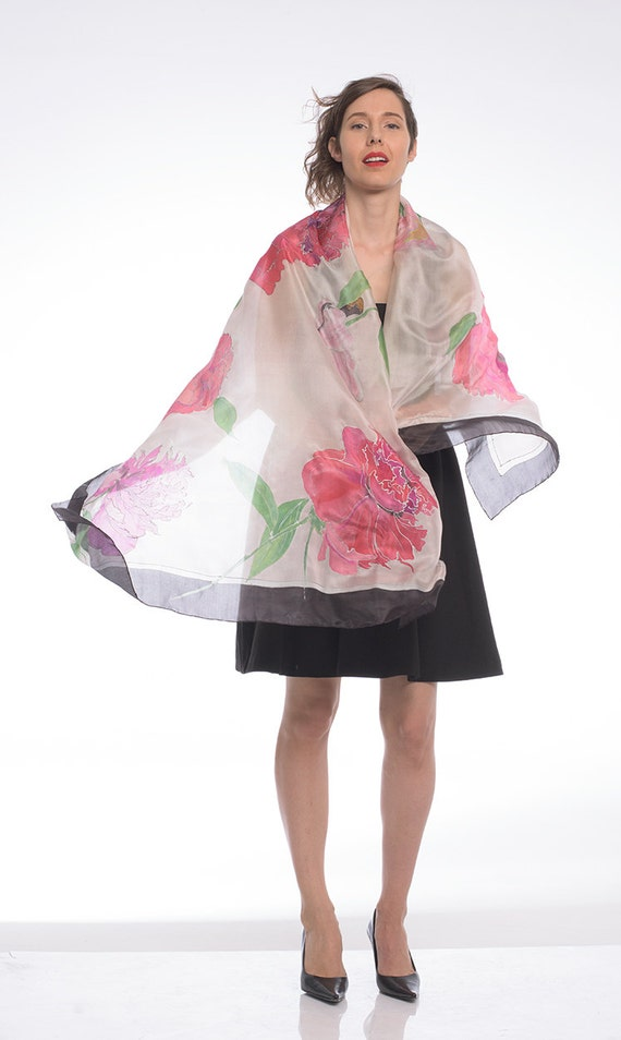 Floral Silk Shawl/ Hand painted Silk Scarf- Ruby Peonies/ Misty Rose with Charcoal frame/ Luxurious scarves. Unique handmade gifts mom