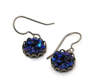 Purple Black Faux Druzy Dangle Earrings on Titanium Wires, Glitter Dangles