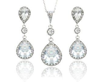 Bridal Jewelry Set Cubic Zirconia Wedding Earring and Necklace Set Teardrop Pendant Earrings and Necklace Silver Wedding Jewellery