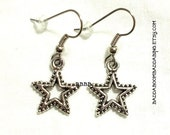 Reserved 50 pairs Its Full Of  Stars Charm Earrings Surgical Steel French Hooks Antiqued Silver Metal