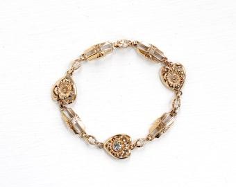 Sale - Vintage 10k Rosy Yellow Gold Flower Heart Zircon Bracelet - Art Deco 1930s 1940s Floral Fine Linked Panel Blue Gem Esemco Jewelry