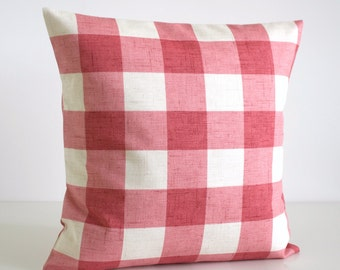 Shabby Chic Pillow Cover, Gingham Pillows, Shabby Chic Pillow Sham, Buffalo Check Couch Pillow, Throw Pillow Cover - Gingham Raspberry