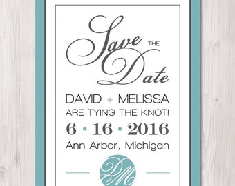 Monogram Save the Date - Digital Download