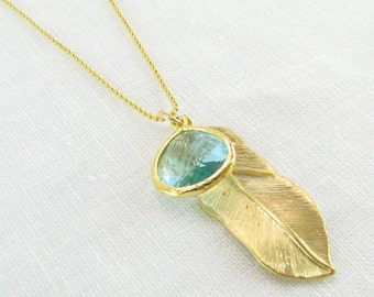 Gold Feather Necklace & Accent Charm