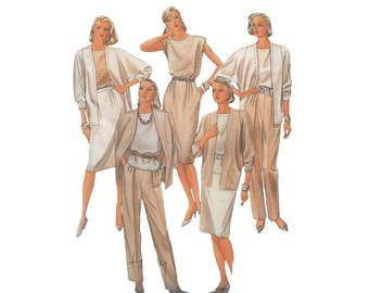 Pleated Pants with Cardigan Jacket, Slim Skirt and Shell Size 12 Bust 34 McCall's 8996 Vintage 1980s Sewing Pattern