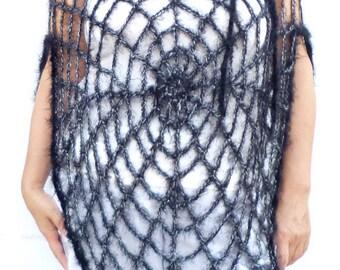 Halloween Black Spiderweb Poncho One Size Women's Clothing Goth Hippie Grunge Clothes Crochet Mesh Poncho Halloween Costume