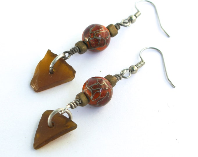 Brown Sea Glass and Sterling Silver Earrings with Red, Brown and Silver Cloisonne Beads on Sterling Silver or Stainless Steel Ear Wires