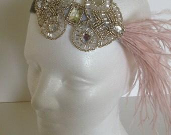Wedding Feather Headpiece, Gatsby Bridal Headband, Ostrich Feather Headpiece, Gatsby Wedding Hairpiece, Blush Feather Headpiece, 1920s dress