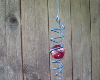Metal glass decor Hanging Red glass ball Suncatcher Stranded wire Glass ball Vintage outdoor Garden decor Ruby red Wedding decor Wire ball