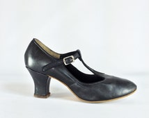 SALE 50s Leather T Strap Pumps Black Leather Pinup Girl High Heels Pin Up Retro Round Toe Shoes Heel ROCKABILLY Size 6.5 7 euro 37 38 uk 4.5