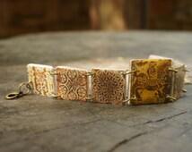 Medieval Tiles Bracelet - Links Bracelet - Brown Bracelet - Medieval jewelry - Medieval Knight - Rider Bracelet - Statement jewelry