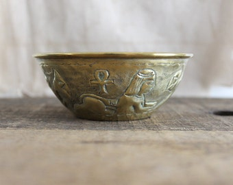 Egyptian motif brass bowl