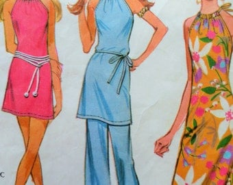 Vintage McCall's 2892 Sewing Pattern, Tunic Pattern, 1970s Halter Dress, 1970s Sewing Pattern, Pants Pattern, Bust 36, Vintage Sewing