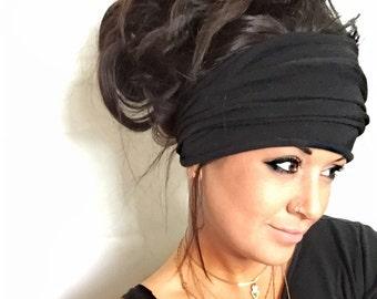 Black Scrunch Headband, Extra Wide Headband, Turban Headband, Extra Wide Jersey Headband, Boho Headband, Boho head wrap (women, teen girls)