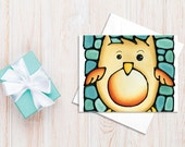 Owl Greeting Card - Brown Owl on Turquoise Background Card - Birthday Card, Baby Shower Card,  Holiday Card - by Artist Kathy Lycka