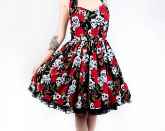 Skull and roses dress- Rockabilly