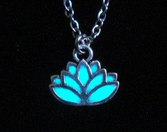 Tiny Lotus Necklace Glowing Lotus Flower Jewelry Water Lily Necklace Pendant Jewelry Antique Silver (glows aqua blue)