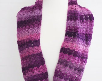 Purple Multi Crochet Infinity Scarf