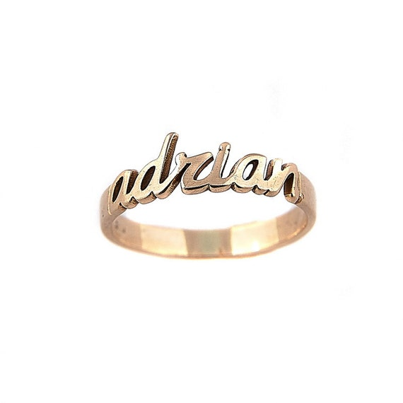 silver name ring personalized ring stackable name by