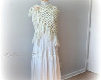 Wrap Shawl with Fringe Cozy Lightweight White Triangle Bridal Shawl Bridesmaid's Shawl