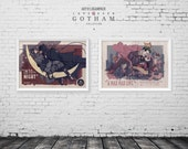 LOVE OVER GOTHAM - Batman and Catwoman - Joker and Harley Quinn - Classic Film Style Posters - Valentines - Original Art Poster Set