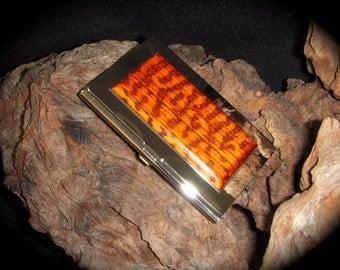 Exotic Snakewood  Business Card Case ID/Card Holder Stainless Steel - FREE Engraving