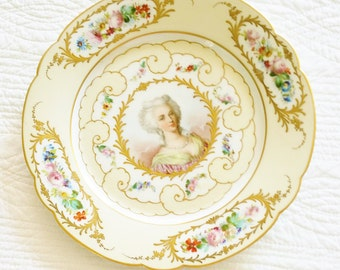 Vintage Romantic Home French Lavender Blush, Shabby Pink, and Textured Gold Marie Antoinette Plate, Olives and Doves