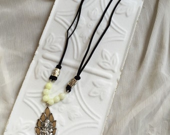 Ganesh Beaded Necklace on Black Leather- Long Bohemian Necklace
