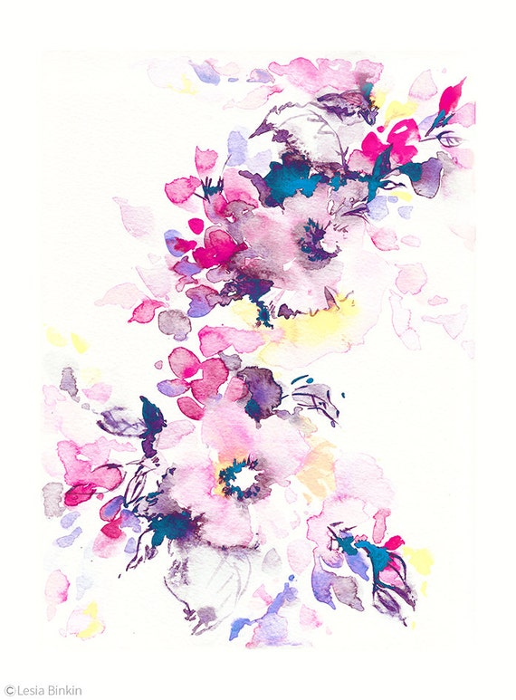 Bright watercolor flower art watercolor flower by for Bright flower painting