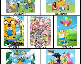 Personalised Adventure Time Jigsaw Puzzle - 120pc - With any Name or Message - Gift Idea - Finn & Jake