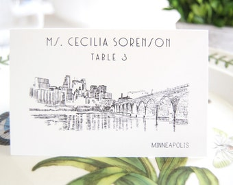 Minneapolis Skyline Hand Drawn Place Cards Personalized with Guests Names (Sold in sets of 25 Cards)