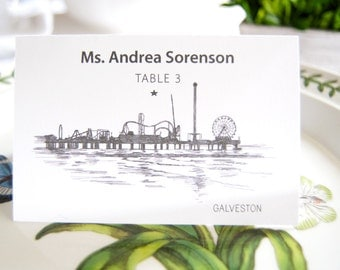 Galveston Skyline Folded Place Cards (Set of 25 Cards)