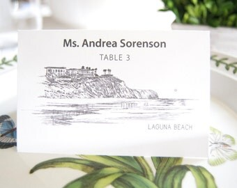 Laguna Beach Skyline Folded Place Cards (Set of 25 Cards)