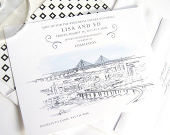 Charleston Wedding Rehearsal Dinner Invitations (set of 25 cards)