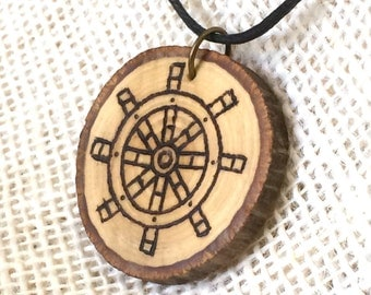 Rudder/Helm Wood Burned Necklace Nautical Wood Slice Tree Branch Necklace