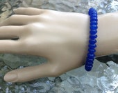 Blue Abacus Sapphire Handmade Beaded Stretch Bracelet ~ royal blue