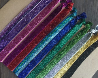 Pick 5!  Fold over tie glitter headbands for adults and kids!